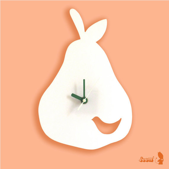 White Birdie in a Pear Wall Hanging Clock by Joom contemporary clocks