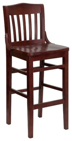 Hercules Series Finished School House Back Wooden Restaurant Bar Stool in Mahoga modern-bar-stools-and-counter-stools