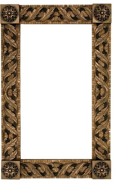 mosaic mirror frame with metal inlay mediterranean bathroom mirrors