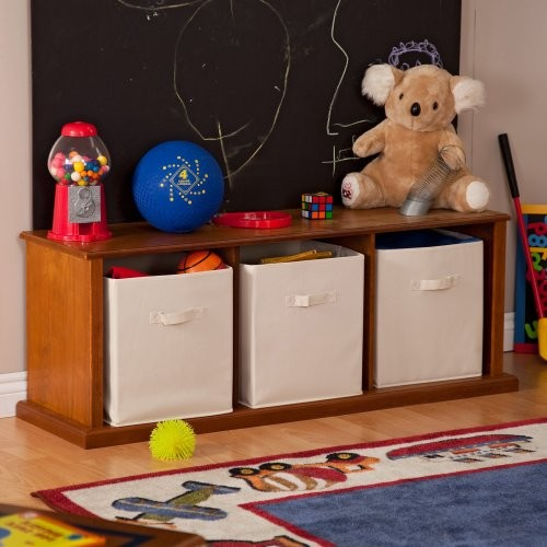 Classic Playtime Storage Bench - Pecan contemporary-indoor-benches