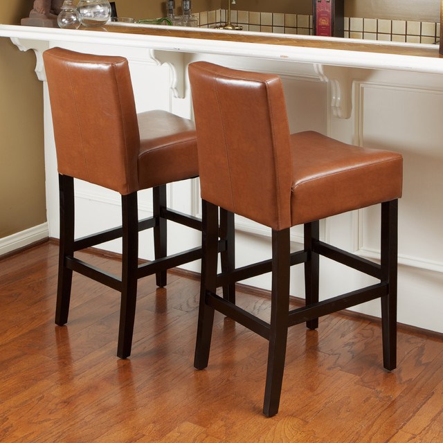 Christopher Knight Home Lopez Hazelnut Leather Counterstools Set Of 2 Contemporary Bar