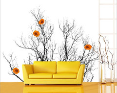 GardenWalls, Japanese Spring Series, Orange contemporary-wallpaper