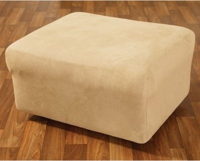 Sure Fit Stretch Suede Ottoman Slipcover modern-living-room-chairs