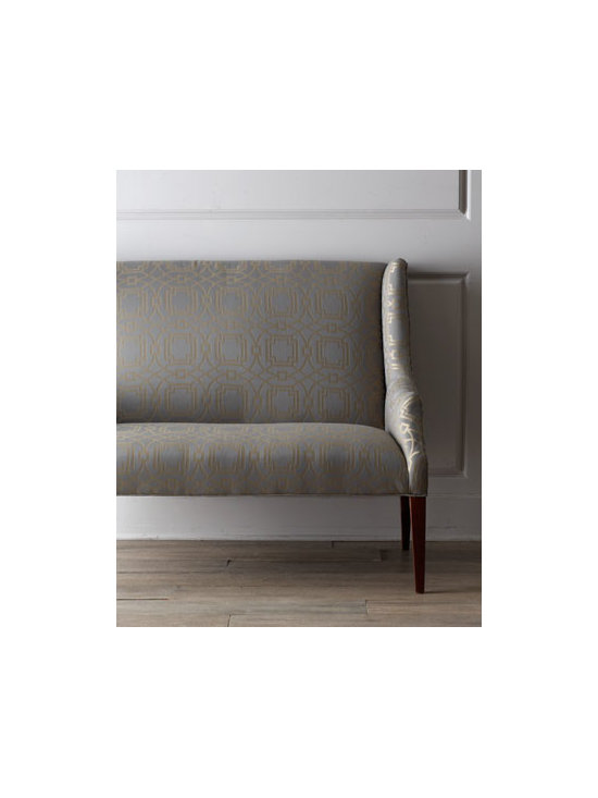 Horchow - Fostoria Banquette - Beautiful lines accentuate this stylish banquette, featuring shaped, sloping arms; tapered legs; and generous seating area. A gorgeous alternative to traditional dining seating, it refreshes any dining area. Frame made of hardwood solids and laminated....
