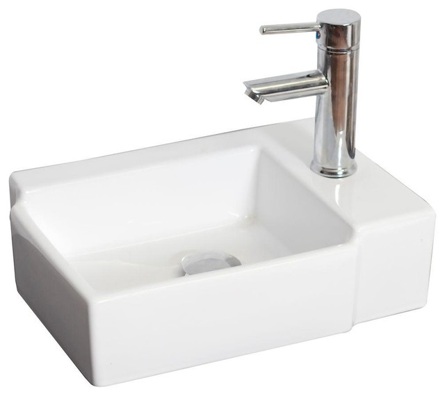 Above Counter Vessel Sink : ... Imaginations Bathroom Above Counter Rectangle Vessel Sink in White for