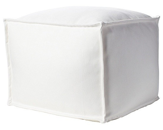 Sundial Ottoman, Salt - Can you believe this sparkling white pouf is made for the outdoors? Thankfully, that means it's extra stain resistant and easily wiped down, so it would be perfect for using inside a home with kids (or pets) too.