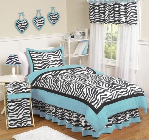 Zebra Turquoise Collection 3pc Full/Queen Bedding Set modern-duvet-covers