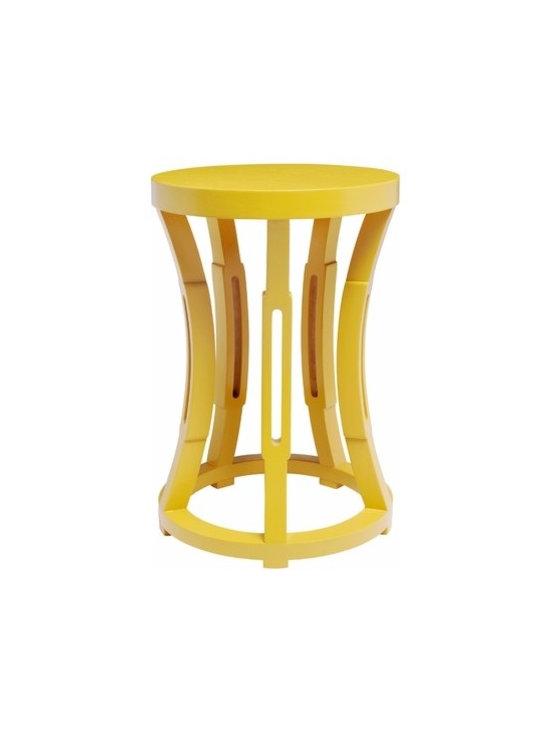 Hourglass Stool or Side Table, Yellow - Any bedside table can be spray painted yellow, but I like the look of this one. It's a bit unexpected as a side table, but it would add a lot of fun to the room.