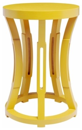 Hourglass Stool or Side Table, Yellow modern side tables and accent tables