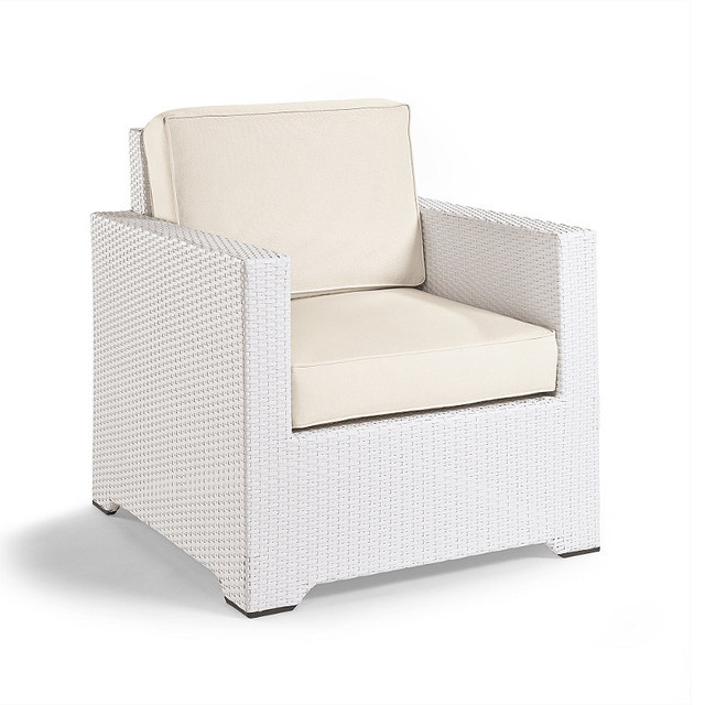 Palermo Balcony Outdoor Lounge Chair with Cushions in White Finish Patio Fur