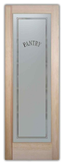 Pantry Door Classic Design Frosted Glass Door, 24 X 1.375 X 80 - Traditional - Pantry And ...
