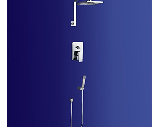 Shower Faucets - Contemporary Chorme Finish Shower Faucet with 8 inch Shower Head and Hand Shower--FaucetSuperDeal.com