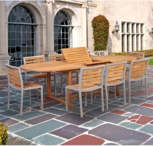 Caluco Teak And Aluminum Patio Dining Set Seats 8 Multicolor 50 502 Con