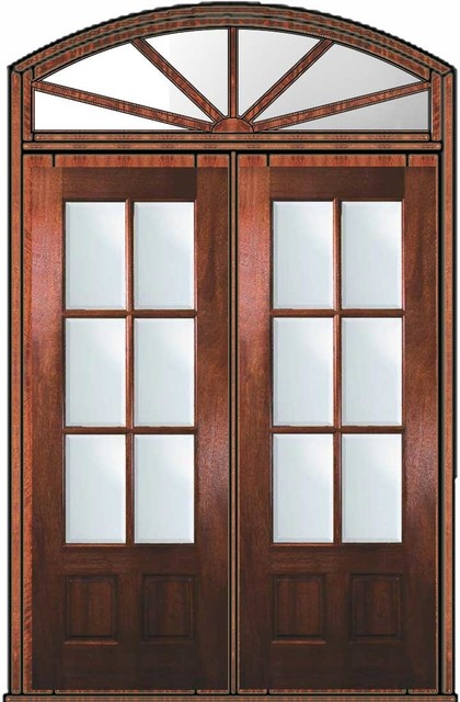 Pre hung french transom double door 96 mahogany 3 4 lite 6 for Double hung patio doors