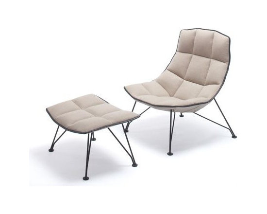 Knoll - Jens+Laub Ottoman, Wire Base Leather - The generous proportions and sweeping form of the Jehs and Laub Lounge (2008) make it a coveted seat for relaxing, napping or curling up with a book or laptop. In addition to designing furniture, Markus Jehs and J¸rgen Laub created the interior of Suite 606 at the 2007 IcehotelÆ in Sweden and the master concept for Mercedes-BenzÆ showrooms. This Lounge is stamped with the designersí signatures. Made in U.S.A.†