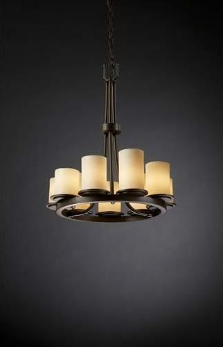 CandleAria Dakota Cream Dark Bronze Nine-Light Chandelier contemporary-chandeliers