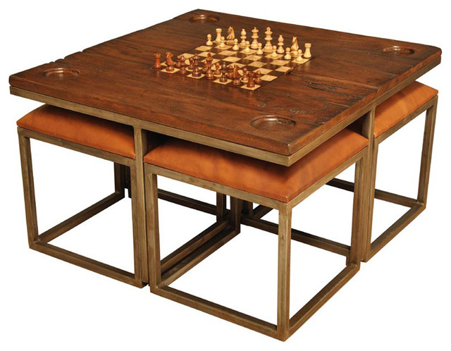 Low Game Table With Four Low Game Table With Four Stools   Traditional   Coffee  Tables   By