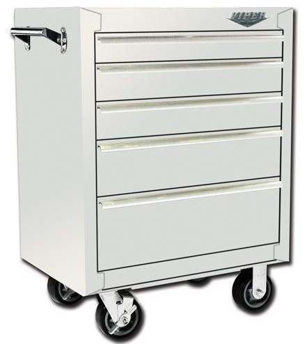 Viper Tool Storage 26-Inch 5 Drawer 18G Steel Rolling Cabinet, White - by Sears