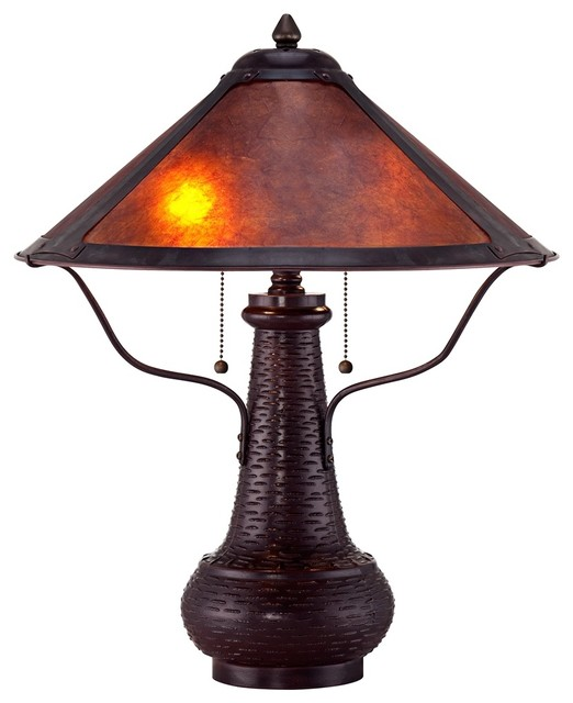 Arts and Crafts - Mission Amber Mica Shade Mission Style Table Lamp traditional-table-lamps