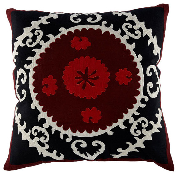 Black and Red Square Suzani Pillow mediterranean pillows