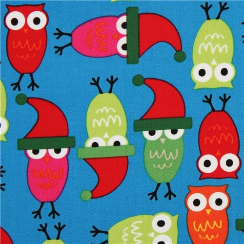 blue Christmas owl fabric by Robert Kaufman fabric