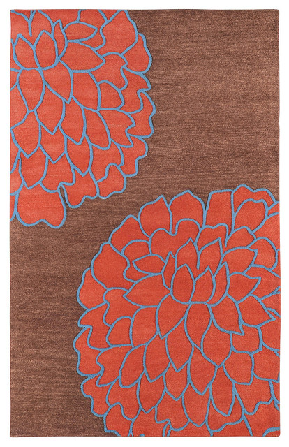 """Surya Artist Studio ART-206 2'6"""" x 8' Brown, Coral Red Rug contemporary-rugs"""