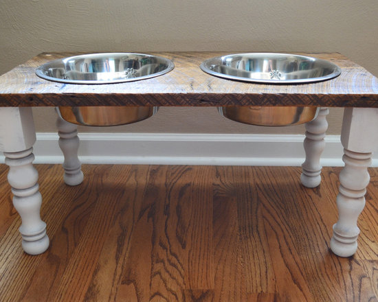 Reclaimed Wood Pet Feeders - Give your furry friend a gift they'll love! This unique Raised Farmhouse Pet Feeder is handmade from reclaimed wood and salvaged wood furniture legs, which helps promote healthy digestion for your pet!