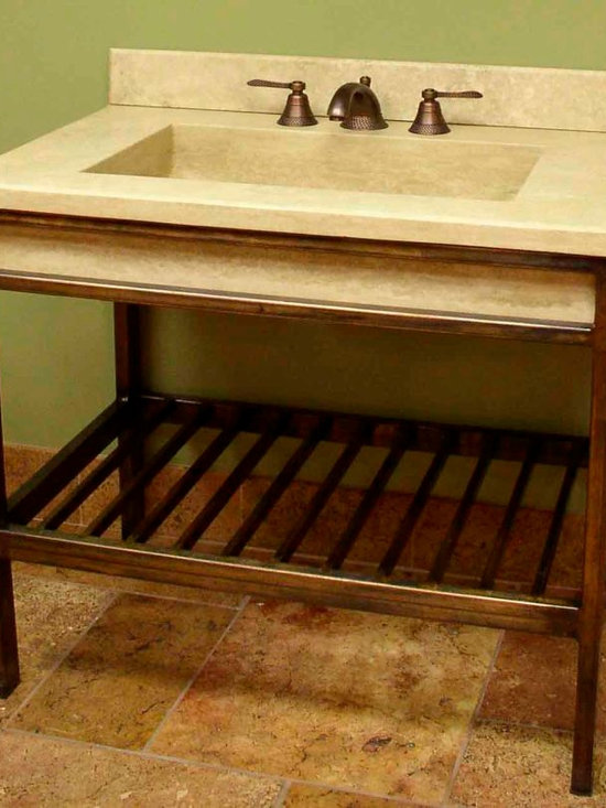 """Vanities  wrought iron and stone - Durango vanity  Europa  34""""w 34"""" h 22 d. - Featuring 6"""" thick stone top."""
