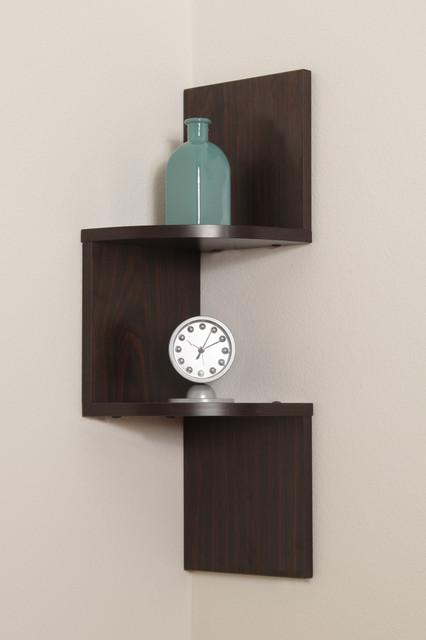 Decorative Wall Corner Shelf : Laminated two tier corner shelf contemporary display