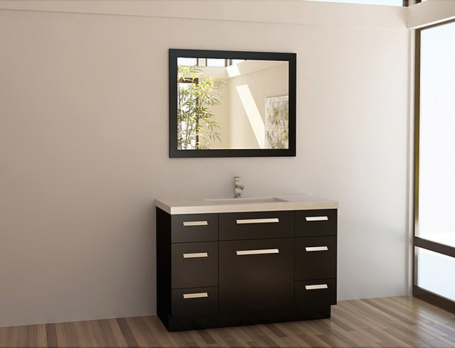 Design Element Solid Wood 48-inch Quartz Top Modern Single Sink ...