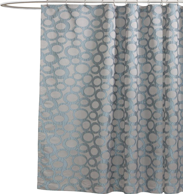 orbit blue shower curtain contemporary shower curtains. Black Bedroom Furniture Sets. Home Design Ideas