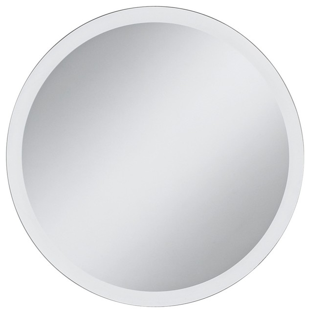Round frameless 42 wide beveled mirror contemporary for Round mirror canada