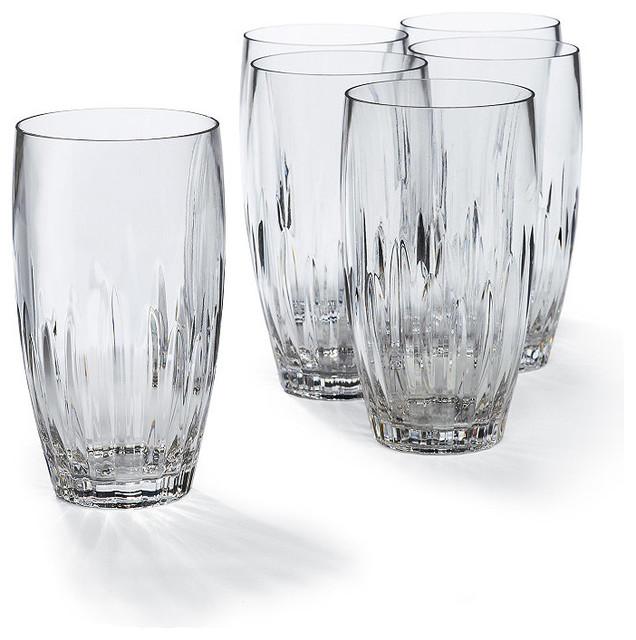 Set Of Six Acrylic Cut Crystal High Ball Glasses