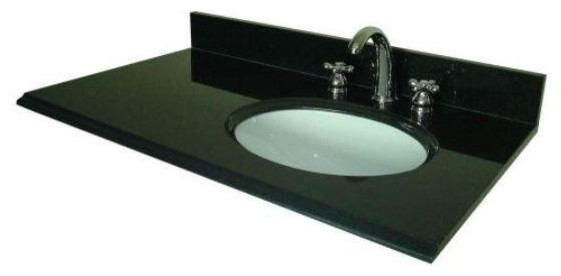 Pegasus 37 Vanity Top With Right Offset Bowl And 8 Faucet Spread Black 38684 Contemporary
