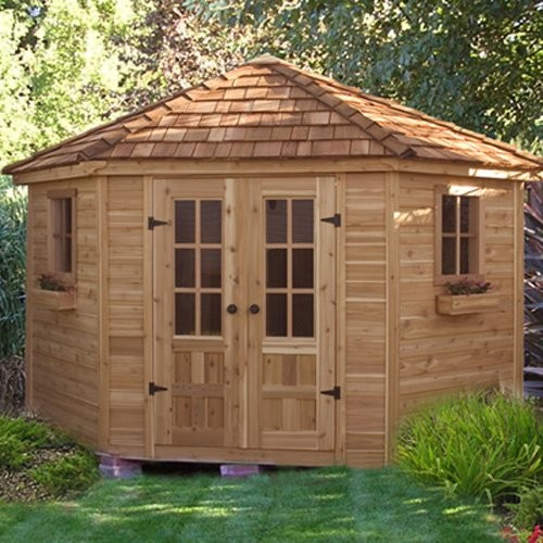 Outdoor living today pen99 penthouse 9 x 9 ft garden shed for Traditional garden buildings
