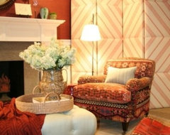Upholstered Folding Screen eclectic screens and wall dividers
