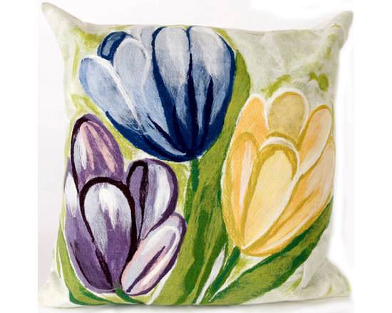 """Trans-Ocean Outdoor Pillows - Trans-Ocean Liora Manne Tulips Cool - 20"""" x 20"""" - Designer Liora Manne's newest line of toss pillows are made using a unique, patented Lamontage process combining handmade artistry with high tech processing. The 100% polyester microfibers are intricately structured by hand and then mechanically interlocked by needle-punching to create non-woven textiles that resemble felt. The 100% polyester microfiber results in an extra-soft hand with unsurpassed durability."""