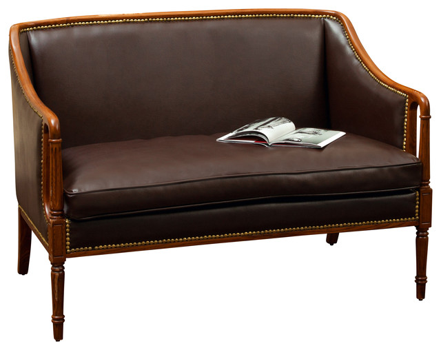 Hairston Brown Leather Wood Frame Loveseat Traditional Loveseats By Great Deal Furniture