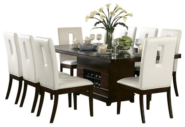 Homelegance Elmhurst 7 Piece Pedestal Dining Room Set In Brown Cherry Tradi