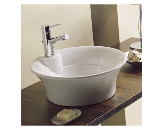 "Scarabeo - Stylish Contemporary White Ceramic Vessel Bathroom Sink - Stylish round contemporary above counter vessel sink made of high quality white ceramic. Circular sink includes overflow and a single faucet hole. Designed and made in Italy by Scarabeo. Sink dimensions: 18.30"" (width), 6.50"" (height), 18.30"" (depth)"