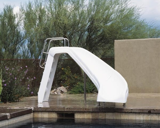 Inter-Fab White Water Complete Left Curve Pool Slide - -Perfect Family Fun Pool Slide