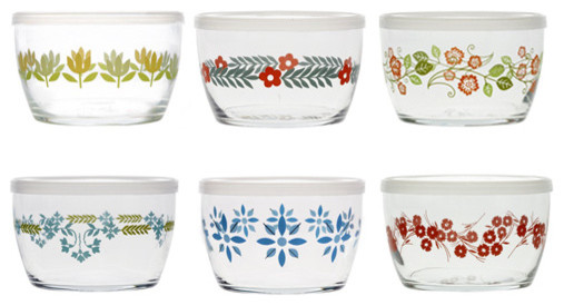 Vintage Flower Storage Bowls eclectic-food-containers-and-storage
