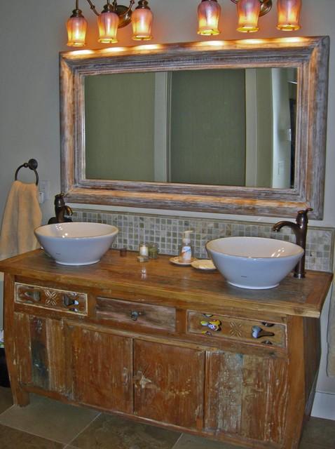 reclaimed teak vanity onyx tile back splash mahogany mirror eclectic bathroom vanities and