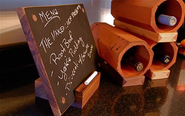 Walnut Chalk board/cutting board and drain tile modular wine display eclectic-wine-racks