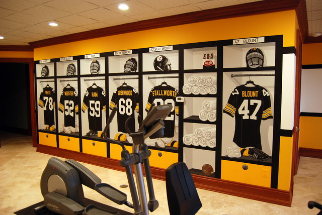 Man Cave Locker Decor : Pittsburgh steelers s themed locker room murals in a