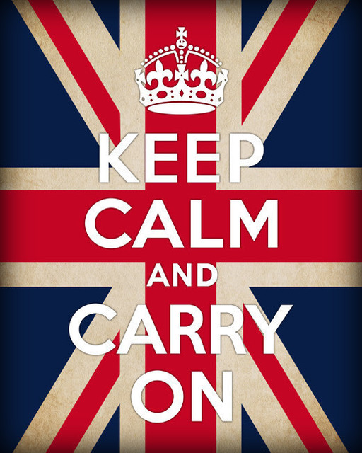 Keep Calm And Carry On, archival print (british flag) modern-prints-and-posters