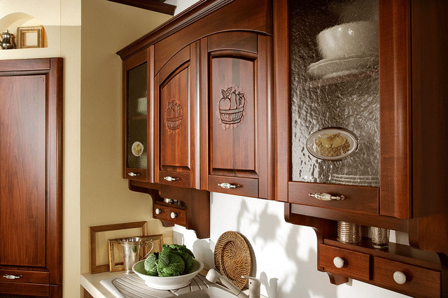 Italian Kitchen Cabinet Organization and Close-up Images mediterranean