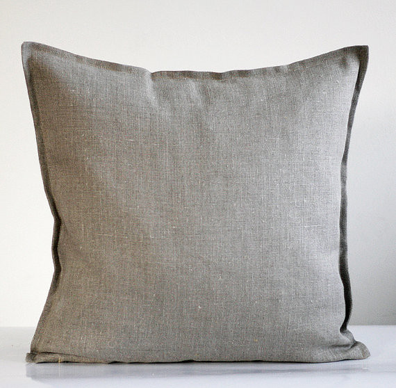 Linen Pillow Cover, Gray by Pillow Link - traditional - pillows