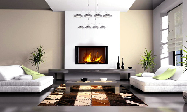 cowhide patchwork rugs in contemporary home decor modern