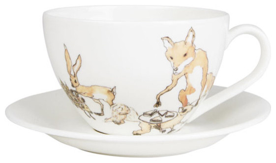 Animal Tea Party Teacup And Saucer, MELLOR WARE traditional-mugs